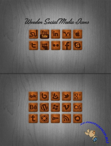 WeGraphics - Wooden Social Media Icon Pack
