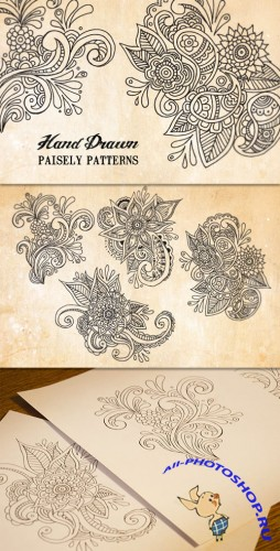 WeGraphics - Hand Drawn Floral Paisley Patterns