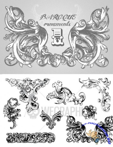 WeGraphics - Baroque Ornament Vectors Vol1