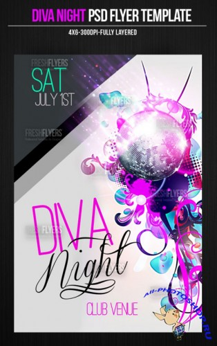 Diva Night Party Flyer/Poster PSD Template