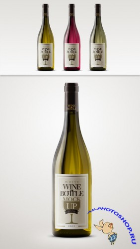 Pixeden - Psd White Wine Bottle Mockup