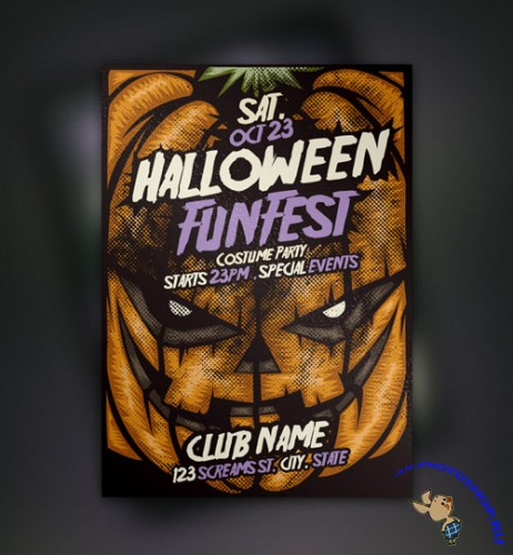 Pixeden - Pumpkin Halloween Flyer Template
