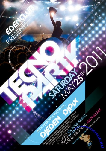 Pixeden - Tecno Party Flyer Template Psd