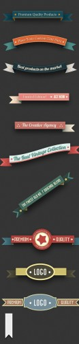 Designtnt - Retro Ribbons Banners Set 2