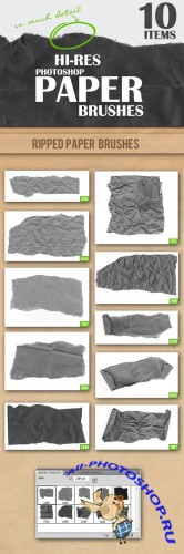 Designtnt - Ripped Paper Photoshop Brushes