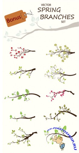 Designtnt - Spring Branches Photoshop Brushes