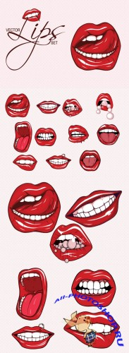Designtnt - Sexy Lips Vector Set