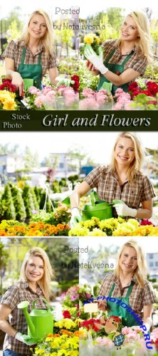������� � ����� / Girl and flowers - Stock photo