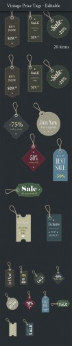 Designtnt - Vintage Price Tags for Photoshop