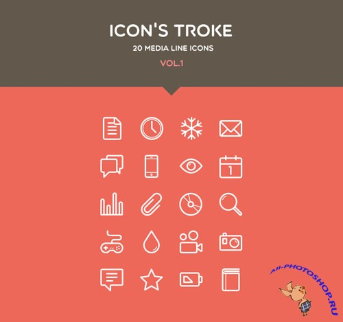 Pixeden - Flat Stroke Line Icons Set Vol1