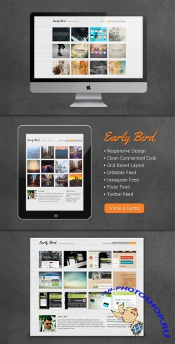 WeGraphics - Early Bird – One Page Portfolio Template