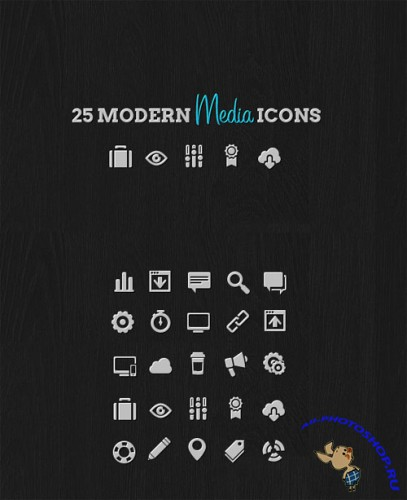WeGraphics - 25 Modern Media Icon Pack
