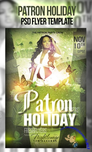 Patron Holiday Party Flyer/Poster PSD Template
