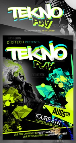 Tekno Play Flyer/Poster PSD Template