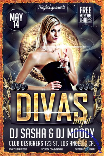 Diva's Night Party Flyer/Poster PSD Template