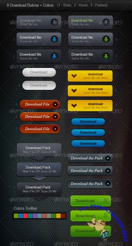 GraphicRiver - 9 Web Buttons (Download Buttons) 140106