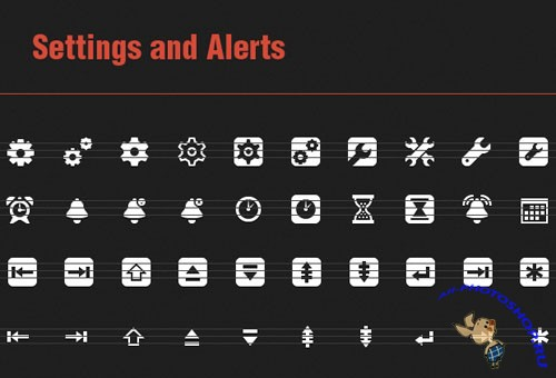 40 Vector Icons with Setting and Alerts