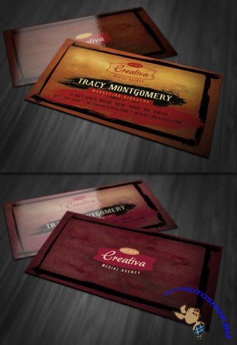 Grungy Business Card PSD Template