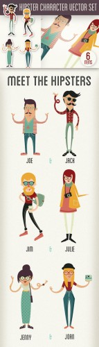 Hipster Photoshop Vector Character Set 1