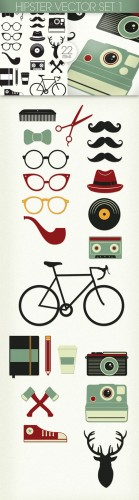 Hipster Photoshop Vector Set 1