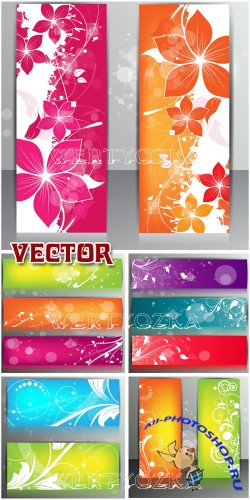 ������� � ������� � �������  / Banners with the colors and patterns - vector clipart