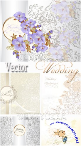 Свадебные фоны с цветами / Wedding backgrounds with flowers - vector clipart