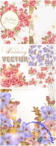 Свадебные фоны с цветами / Beautiful wedding background with colorful flowers - vector clipart
