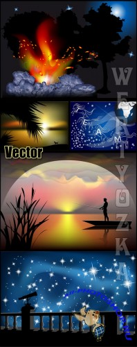 Ночные пейзажи  / Night landscape - vector clipart