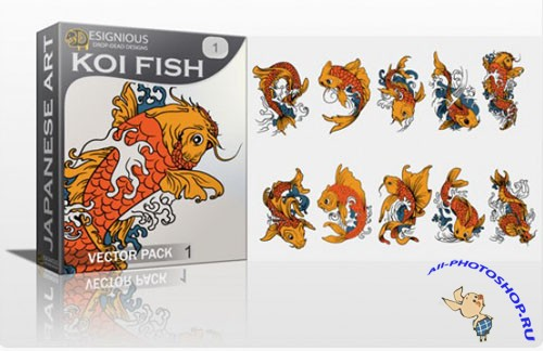 Koi Fish Photoshop Vector Pack 1