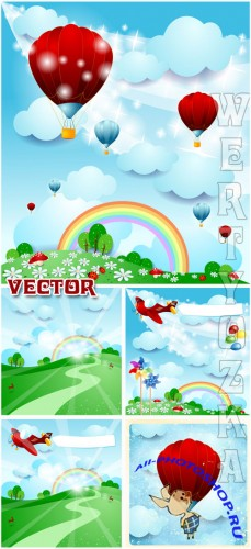 �������� ��������� ���� � ���������� ������ / Beautiful natural background with balloons - vector clipart