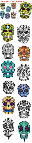 Sugar Skulls Vector Pack 36
