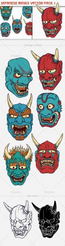 Japanese Masks Photoshop Vector Pack 1