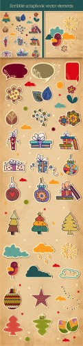 Designtnt - Scribble Scrapbook Vector Elements Set 1