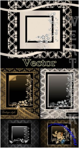 ��������� ������ ���� � ������� � ����������� ������� / Vector black background with a gold and silver decor