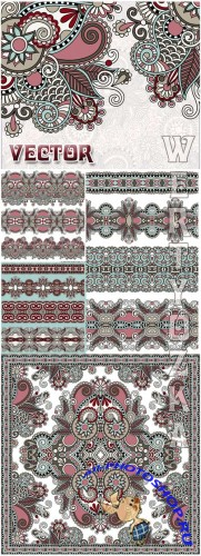 Векторные фоны с узорами и орнаментами / Beautiful vector background with various patterns and ornaments