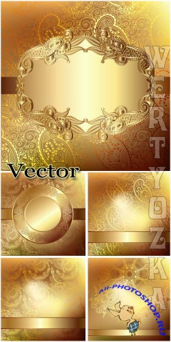 ������� ��������� ���� � ��������� ������� / Golden vector backgrounds with beautiful ornaments