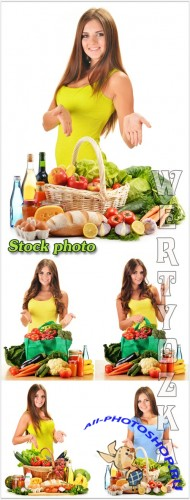 ������� � �������� ������, �������� ������� / Girl with a basket of vegetables, food - raster clipart