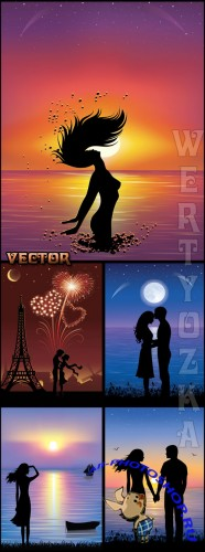 ���������� �� ���� ������ / Lovers at sunset - vector