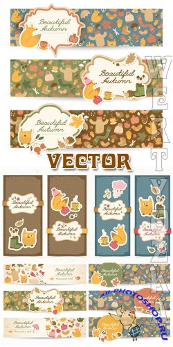 Винтажные баннеры с элементами осени / Vintage banners with elements of autumn - vector