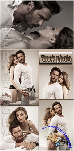 ���������� ����,  ������� � ������� / Loving couple, a man and a woman - Raster clipart