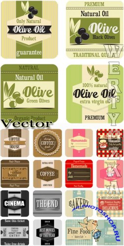 ����������� �������� - ��������� ������� / Food labels - vector clipart