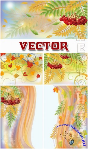 ������� ���� � ������� ������� / Autumn background with a red sorbus - vector clipart
