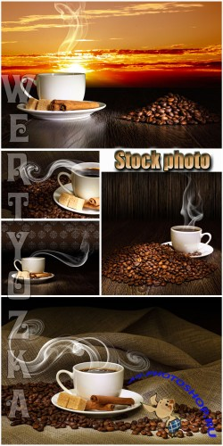 Ароматный кофе на фоне заката / Fragrant coffee on a background of a sunset - Raster clipart