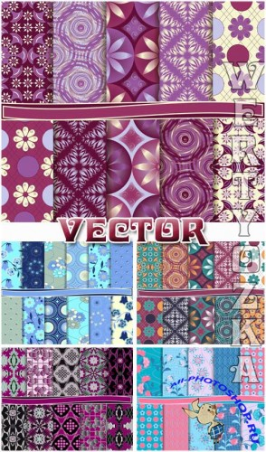 Цветочные текстуры / Floral texture, backgrounds with patterns - vector clipart