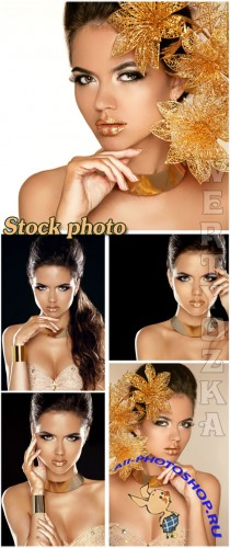 ��������� ������� � �������� ������� / Glamour girl with gold flowers - Raster clipart