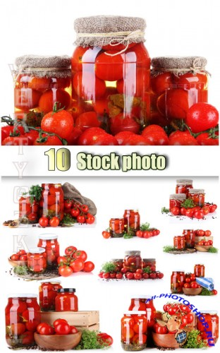����������� �������, ������ �������� / Canned tomatoes - Raster clipart