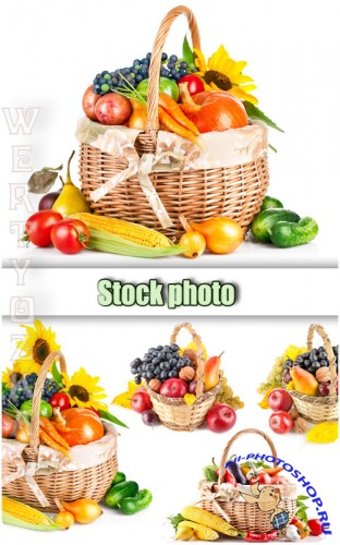 Корзина с овощами и подсолнухами / Basket with vegetables - Raster clipart