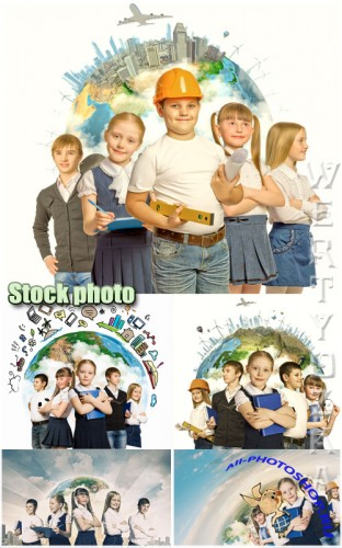 Дети и выбор профессии / Children and choice of profession - Raster clipart