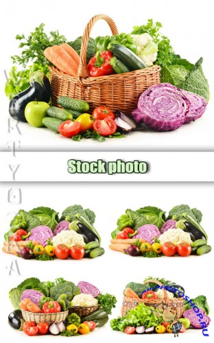 ������ �����, ����� � ������� / Fresh fruits and vegetables in a basket - Raster clipart