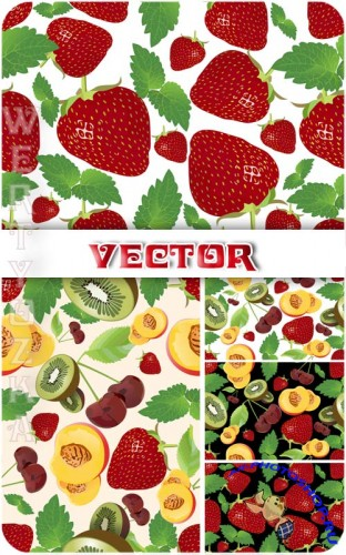 ��������� ���� � �������� � �������, ��������, ����, ������� / Vector background with fruits